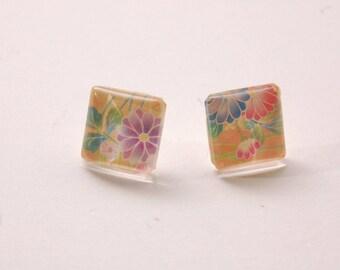 Earrings, yellow, ground, chrysanthemums.