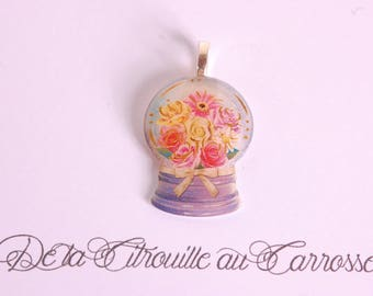Ball pendant with snow, floral pattern
