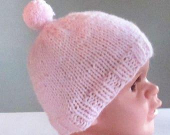Baby beanie hat with pom pom - handmade knit