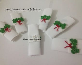 """good luck"" 6 napkin rings in crochet"