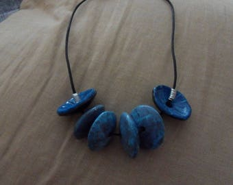 PUT LONG COTTON YARN POLYMER CLAY NECKLACE