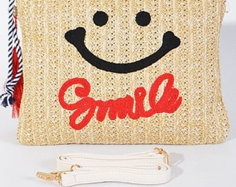 Smiley face straw clutch