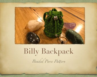 Billy Backpack Beaded Purse PATTERN ONLY Size 11 Seed Beads Knitted Miniture Bags for Tooth Fairy Crystals Jewlery or Purfume pouch