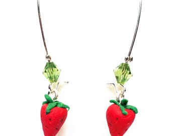 """Earrings """"Bonne Maman"""" Strawberry charms and faceted bicone beads."""
