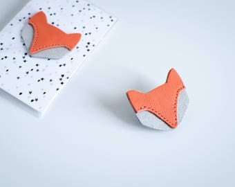 Fox brooch glittery leather