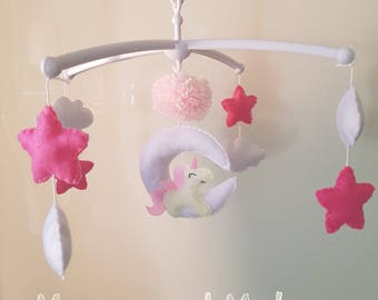 Musical Mobile for baby Unicorn on its white moon with pink stars