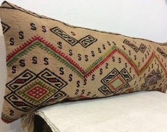 Handmade long lumbar,14x40 kilim pillow,kilim lumbar,35x100 cm lumbar,bohemian lumbar,bedding decor,large kilim pillow,kilim long pillow