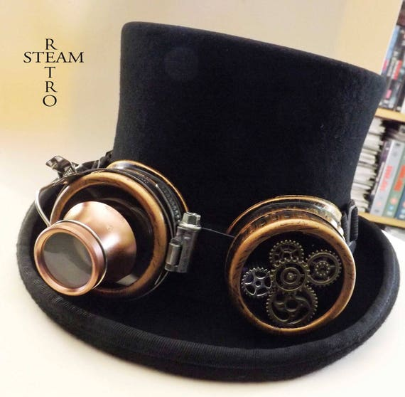Steampunk Hat VINTAGE Top Hat with goggles with gears