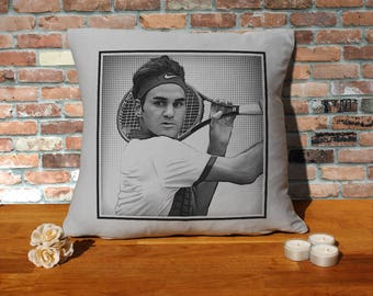 Roger Federer Pillow Cushion - 16x16in - Grey