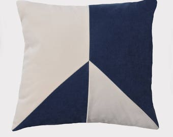 Decorative pillow, removable 45cm x 45cm, fabric for quality, blue and white off