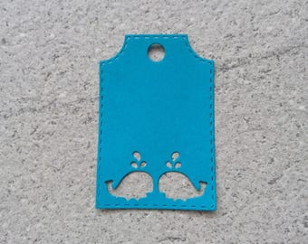 Set of 5 tags whale for scrapbooking papers