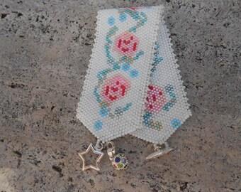 """""""Japanese flowers"""" woven Cuff Bracelet"""