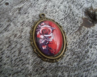 Pendant cabochon glass 25 x 18 red floral pattern