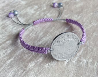 Silver and purple Bangle bracelet recycling piece