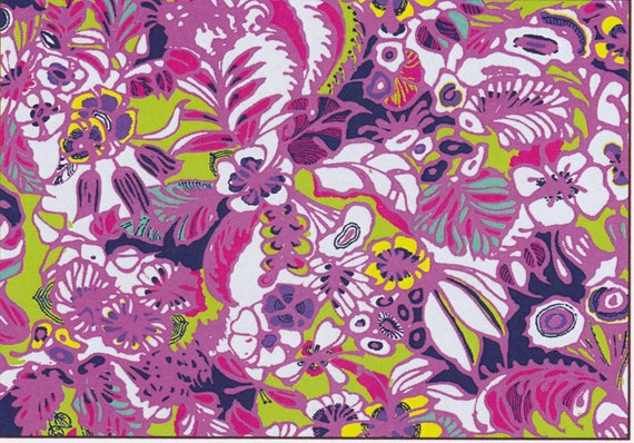 Fabric LOEVA flower cotton in shades of pink, coupon 50 x 47 cm