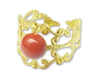 Ring plate print gold - red Jasper (adjustable size)