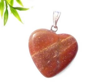 Silver plated - red Jasper heart pendant
