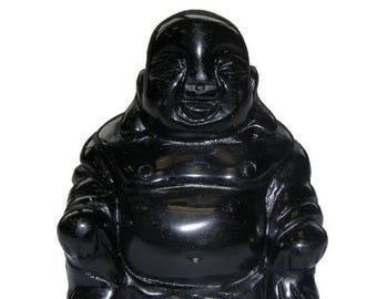 Chinese 5cm black Obsidian laughing Buddha statue