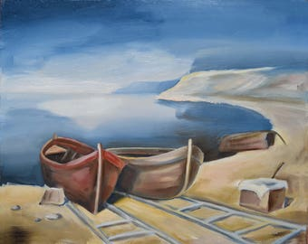 Abandoned boats oil on canvas painting