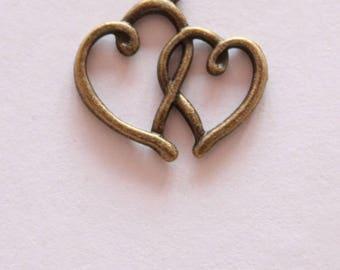 charm pendant double heart 19 * 16 mm, set of 2