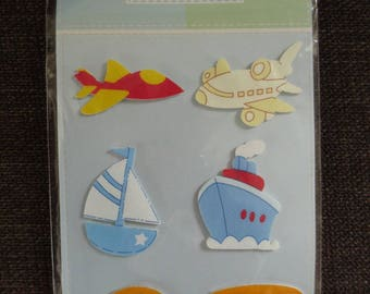 """Sheet of 6 stickers """"means of transportation"""" canvas effect"""