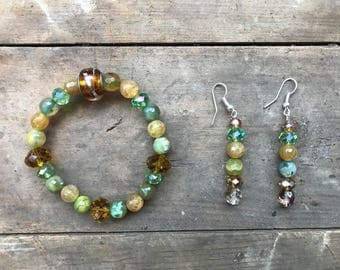 Green Agate, Topaz Austrian Crystal and Sandstone Set
