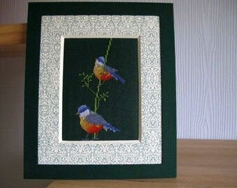 Picture two birds embroidered on green background