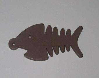 Brown fish skeleton charm/pendants.