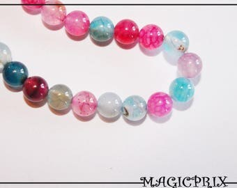 Set of 60 natural multi-faceted Ø 6 mm m2654 AGATE beads