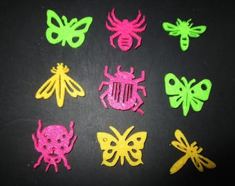 set of 9 felt insect themed shapes