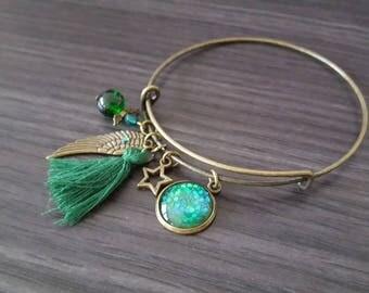 Green Angel Bangle Bracelet