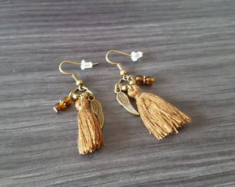 Earrings tassel winged Brown