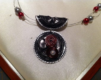 Necklace capsules nespresso grey and Red