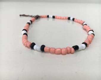 Pink choker necklace and bracelet (double)