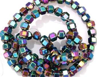 20 beads cube hematite - multicolored