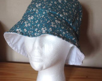 Reversible bucket Hat blue hat with flowers