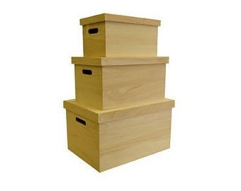 Set 3 nesting crates with wooden lid to decorate - Artemio - Ref 14002106 (wooden boxes) - while stock last!