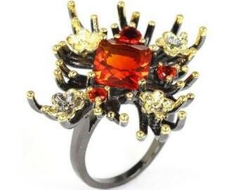 Huge Spessartite garnet ring, reef ring, coral ring, sea ring, modern boho ring, statement ring, orange ring