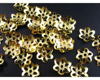 35 cups caps 8mm gold plated bead caps