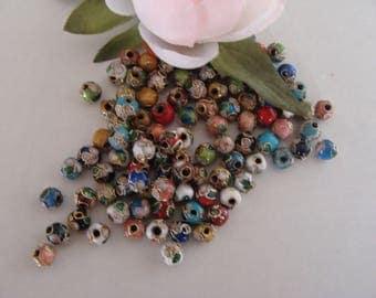 Set of 10 cloisonne beads multicolor 5 mm diameter