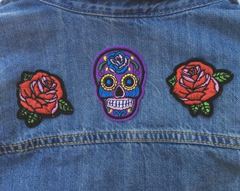 Purple Sugar Skull Iron on Patch // FREE US SHIPPING