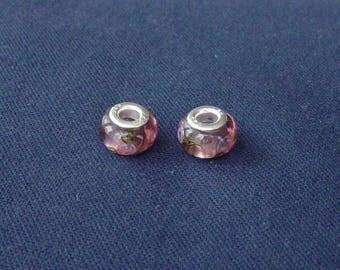 2 pink beads Lampwork floral designs for bracelet snake