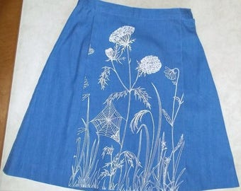 Vintage Flamstead of Vermont Windflower & Spiderweb Screen Print Skort Culottes - Small