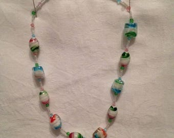 Orange and green fashion necklace