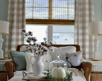 Perfect Beige Buffalo Check Drapes Curtains Tan Ecru Custom Lengths Widths Black  And White Plaid Blue Aqua