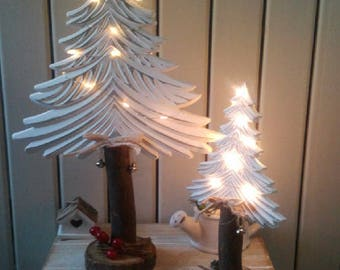 SET of 2 tree White Christmas/tree shabby chic