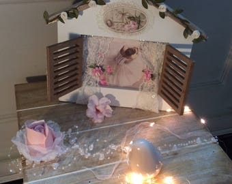 frame with Shutter curtain dancer ballerina wooden house