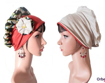 """Beret chemo REVERSIBLE """"Kitty"""" in wax & its removable fabric flower"""