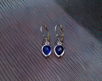 Earrings handmade with Sterling Silver 925/- and real gem (Disthen)
