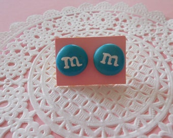 Stud Earrings - M & me blue s